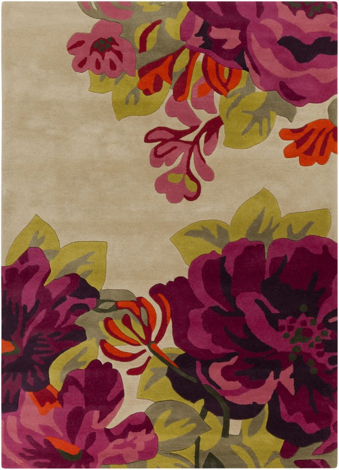 Charming Rectangle Surya Rugs With Flowers Motif For Floor Cover Ideas
