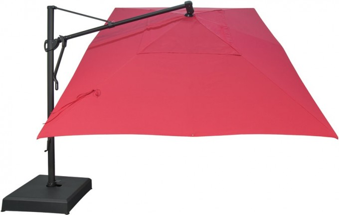 Charming Red Cantilever Patio Umbrella With Black Stand For Patio Furniture Ideas