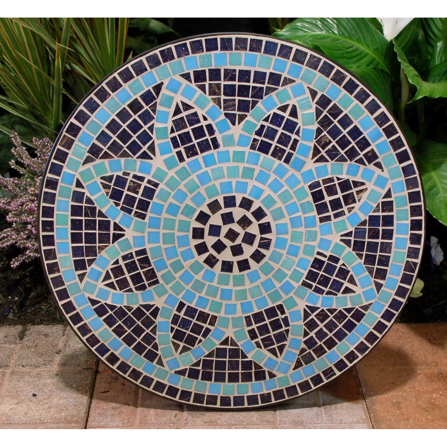 Charming Round Mosaic Bistro Table In Flower Motif For Patio Furniture Ideas