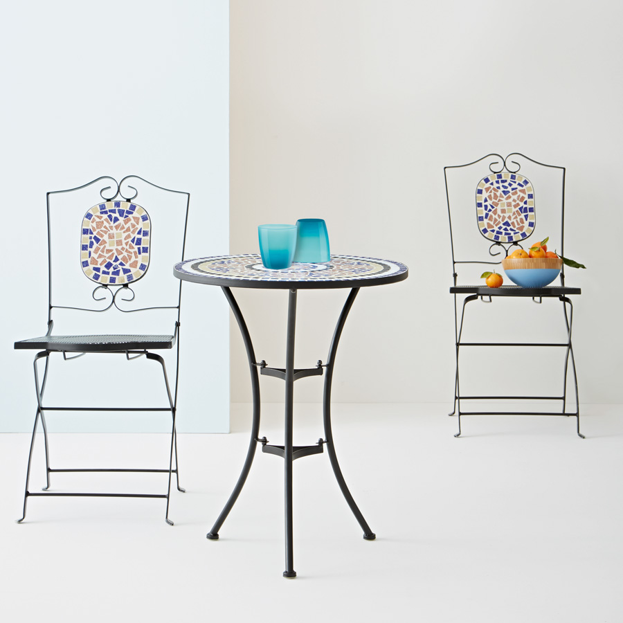 charming round mosaic bistro table with black legs plus double chairs with mosaic on the back for home furniture ideas