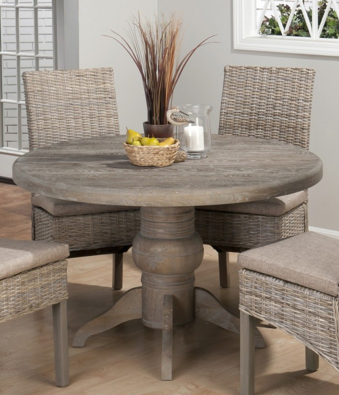 Charming Seagrass Dining Chairs In Grey Plus Round Grey Dining Table On Wooden Floor Matched With Grey Wall For Dining Room Furniture Ideas