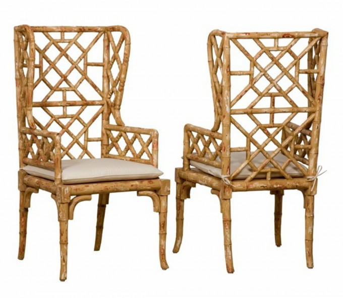 Charming Seagrass Dining Chairs With Arms And White Cushion Seat For Comfortable Dining Chair Ideas