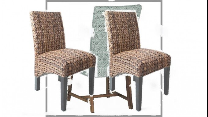 Charming Seagrass Dining Chairs With Black Wooden Legs For Dining Room Furniture Ideas