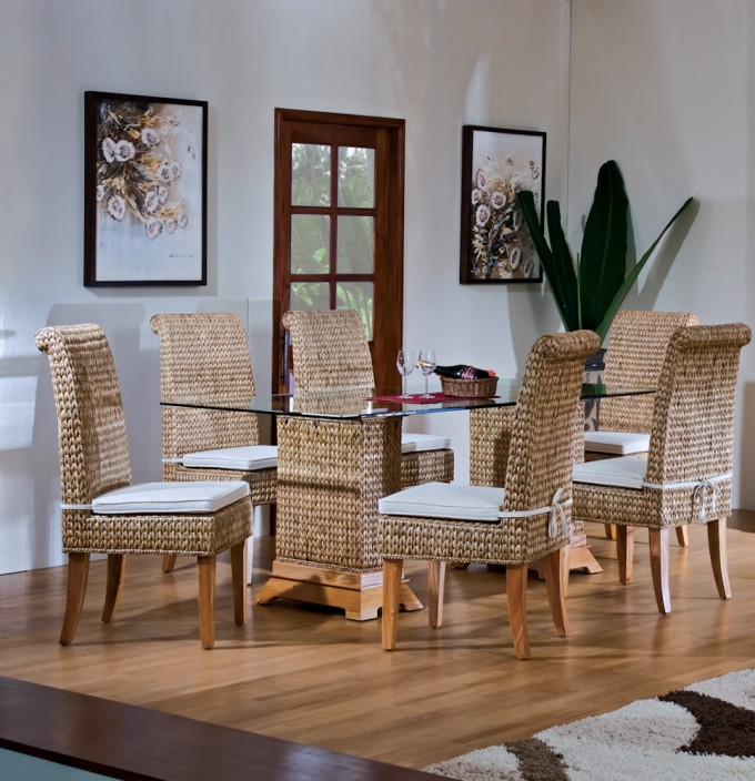 Charming Seagrass Dining Chairs With Sandy Brown Legs Plus Rectangle Glass Surface Dining Table On Wooden Floor Matched With White Wall For Dining Room Decor Ideas