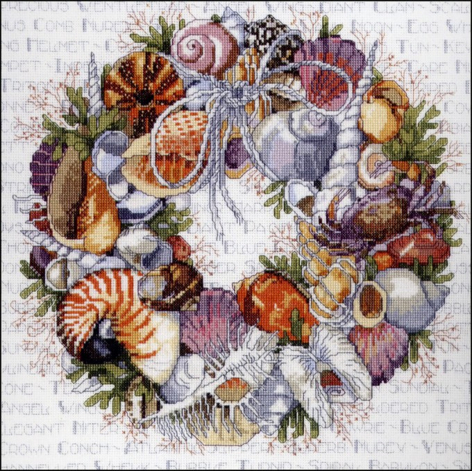 Charming Seashell Wreath In Colorful With Leafs For Wall Accessories Ideas