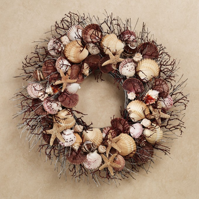 Charming Seashell Wreath With Brown Dominated On Cream Wall For Wall Decor Ideas