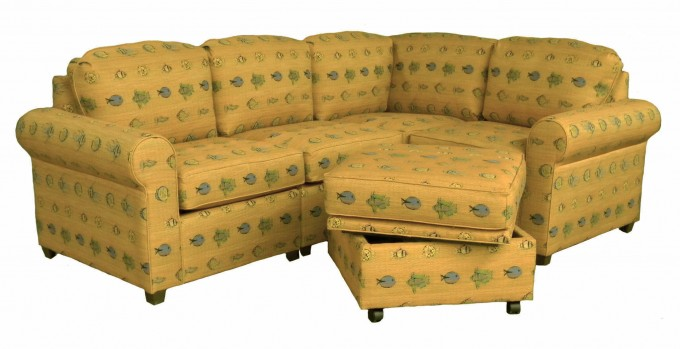Charming Sectional Sleeper Sofa In Yellow With Particular Motif For Home Furniture Ideas