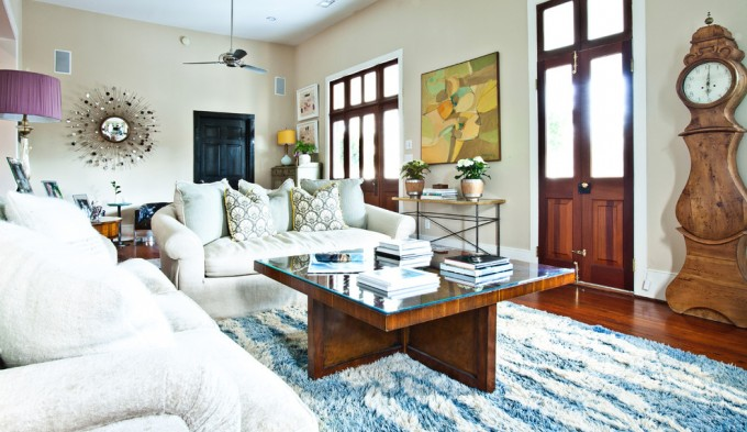Charming Shag Rugs In Blue And White On Wooden Floor Plus White Sofa Set And Square Wooden Table For Living Room Decor Ideas
