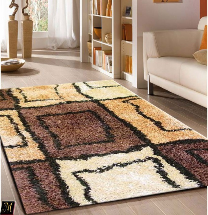 Charming Shaggy 5x7 Area Rugs I Checked Motif On Wooden Floor Plus White Sofa For Living Room Decor Ideas