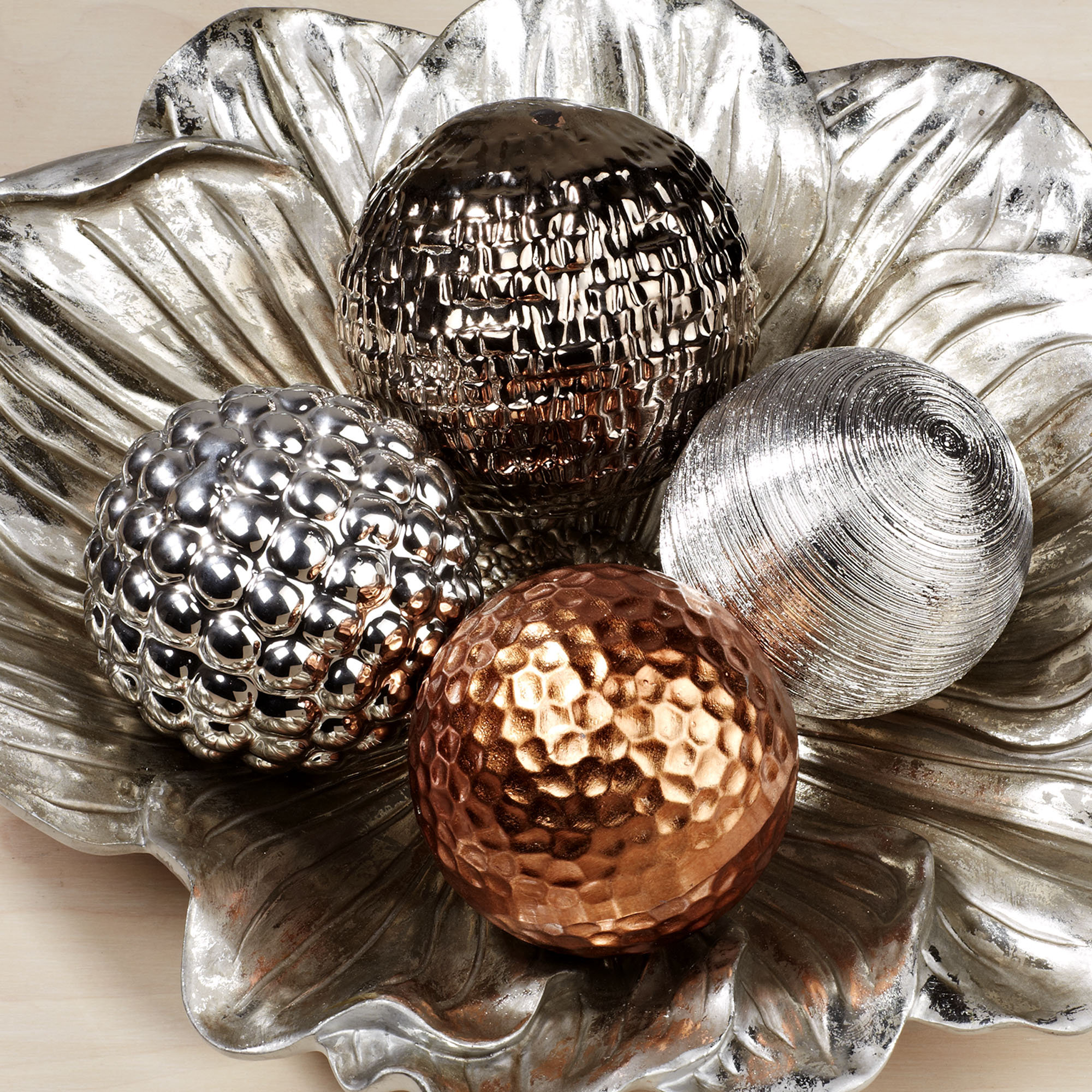 charming silver decorative orbs and other color for home accessories especially for table ideas
