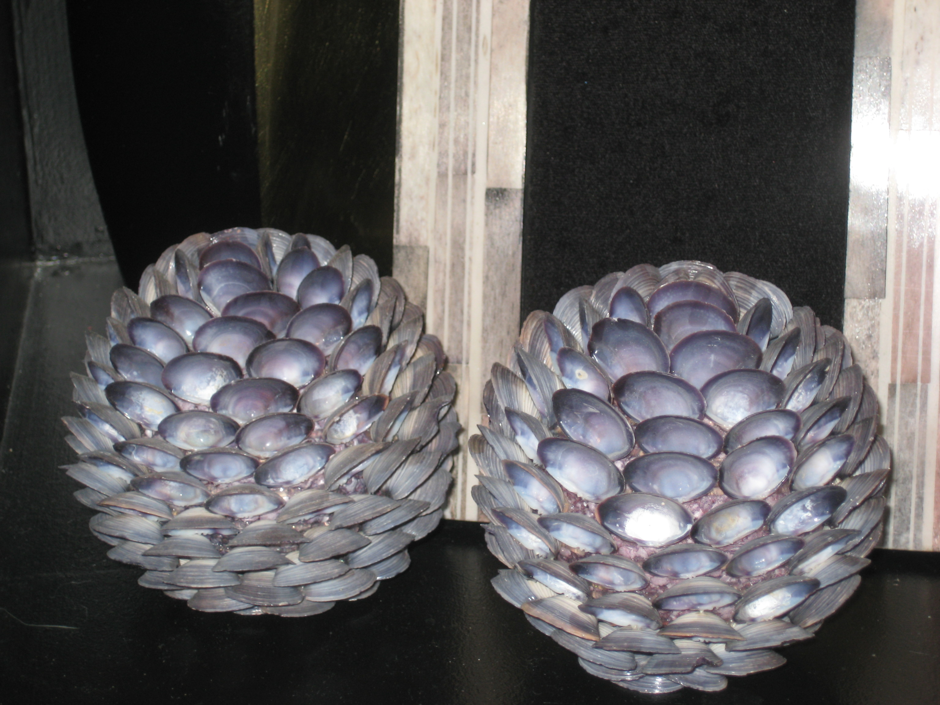 Charming Silver Decorative Orbs Made From Shells For Table Accessories Ideas