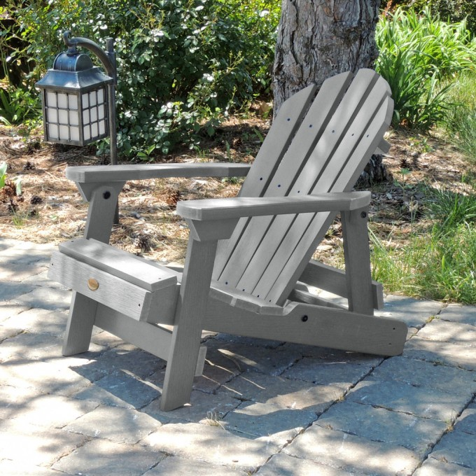 Charming Teak Adirondack Chairs In Grey For Patio Or Outdoor Furniture Ideas