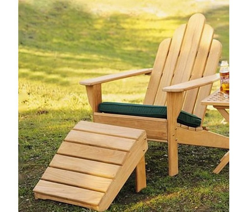charming Teak Adirondack Chairs plus ottoman and green cushion seat For Outdoor And Patio furniture ideas