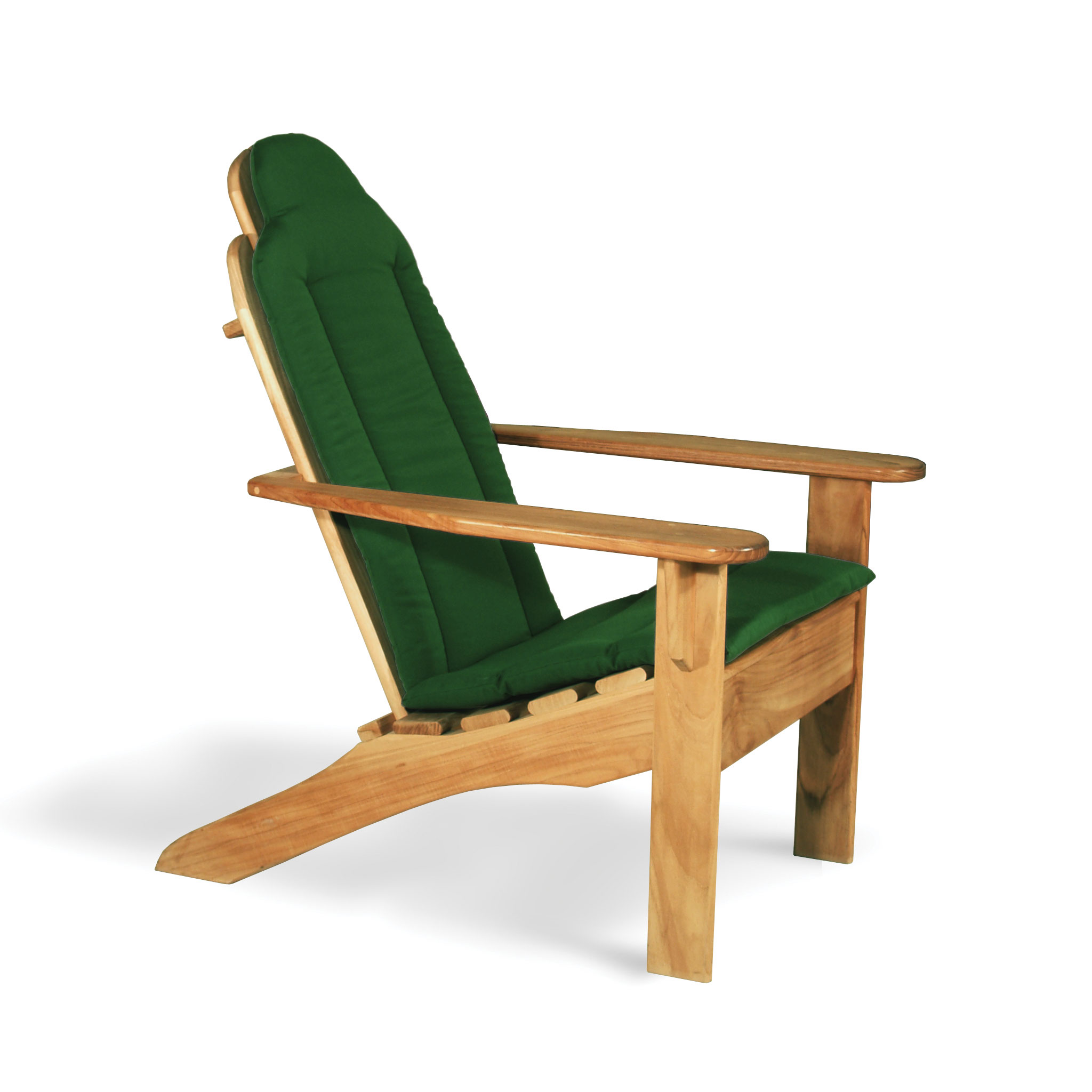 charming teak adirondack chairs with green seat cover for outdoor furniture ideas