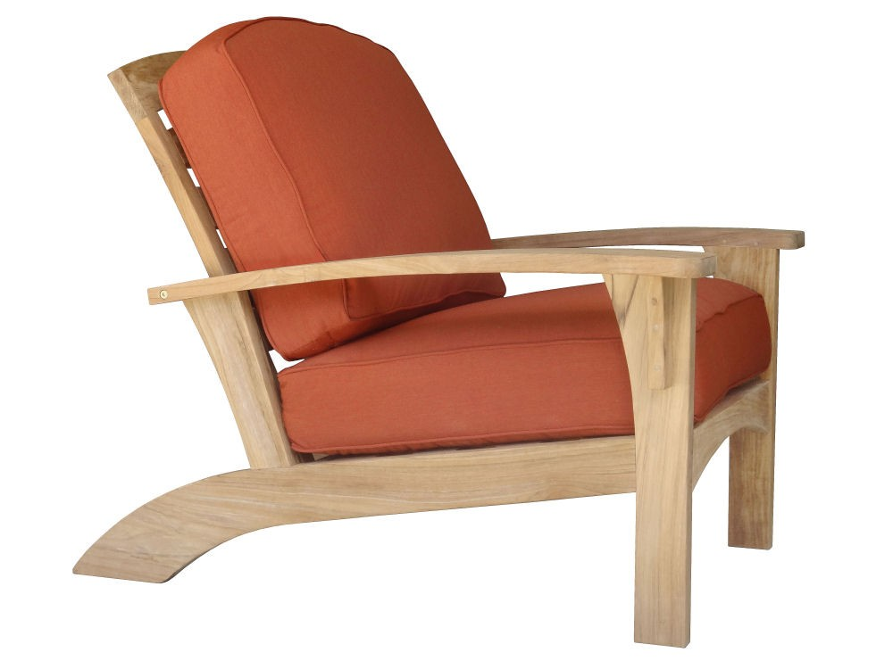 charming Teak Adirondack Chairs with orange seat for outdoor furniture ideas