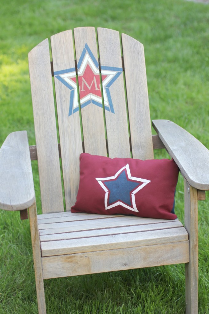 Charming Teak Adirondack Chairs With Star Image On Back For Patio Furniture Ideas