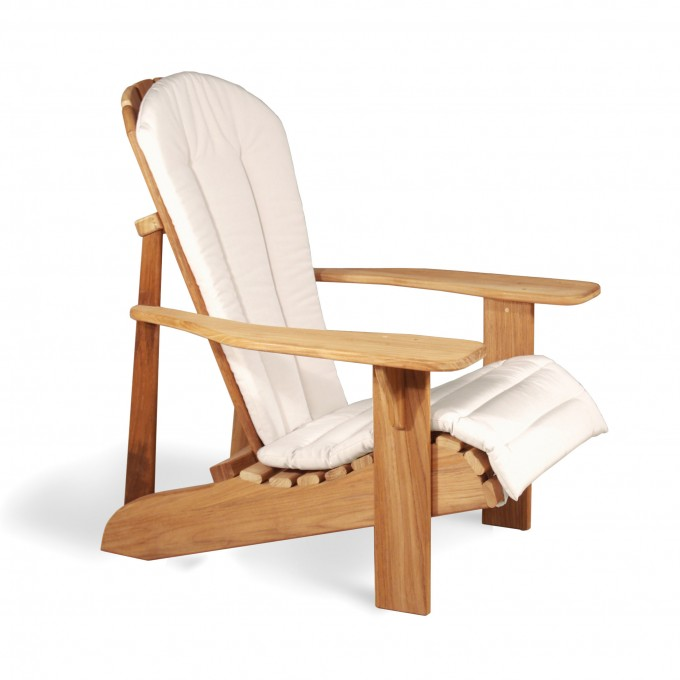 Charming Teak Adirondack Chairs With White Cover Recliner For Outdoor Furniture Ideas