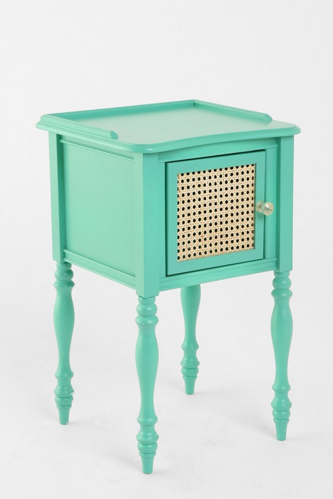 Charming Turquoise Nightstand With Single Storage With Transparent Handle For Home Furniture Ideas