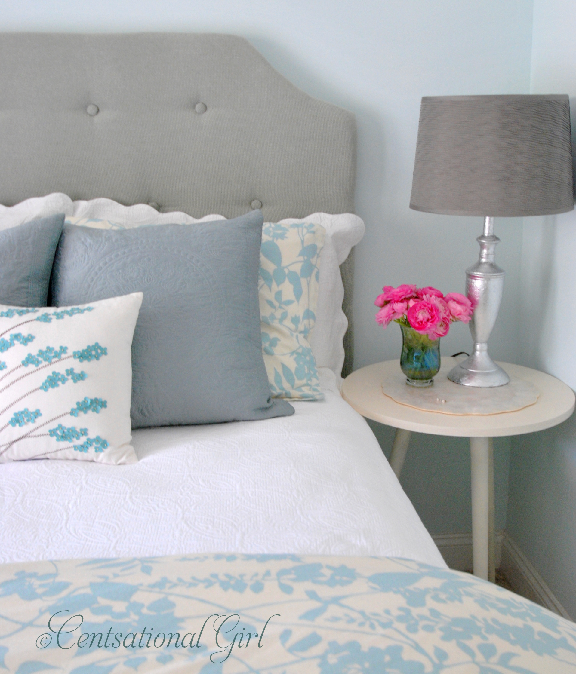 Charming Upholstered Headboards In Gainsboro Matched With White Bedlinen Plus White Nightstand And Table Standing Lamp For Bedroom Decor Ideas