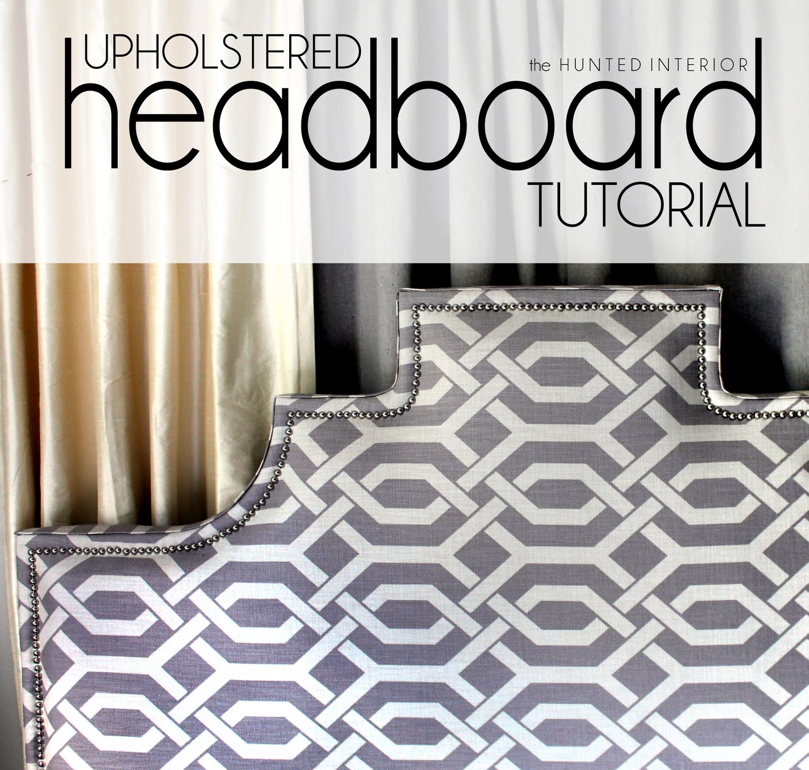 Charming Upholstered Headboards In Gray White And Charming Motif Design For Bed Ideas
