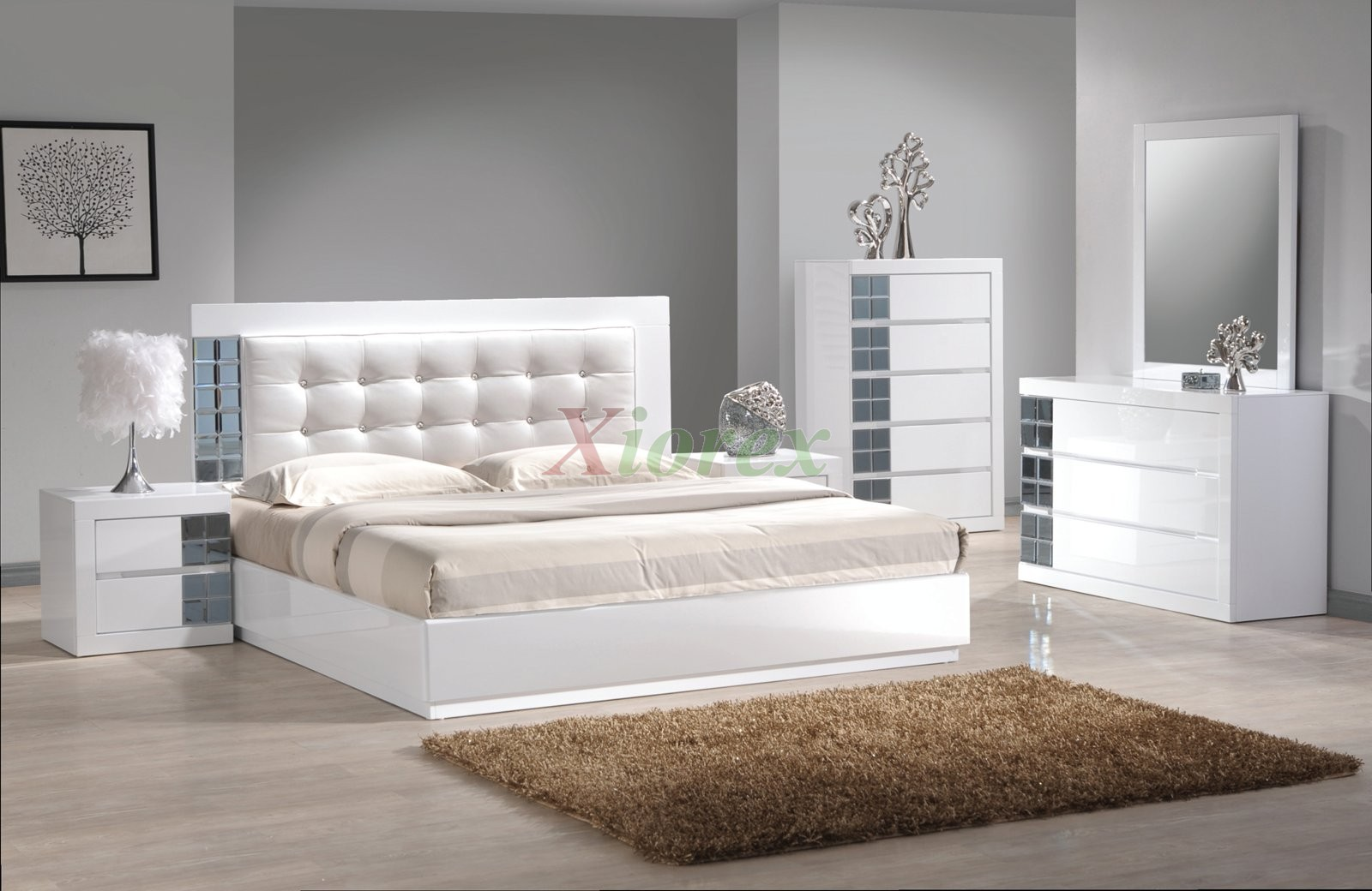 charming upholstered headboards in tufted white with beige bedding on wooden floor matched with gray wall plus charming dresser for bedroom decor ideas