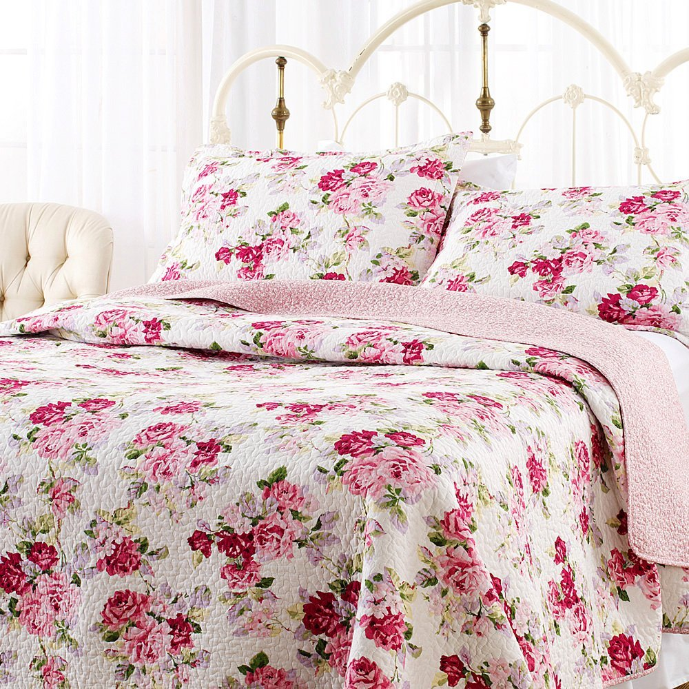 charming white and rose laura ashley bedding with white metal headboard for bedroom decor ideas