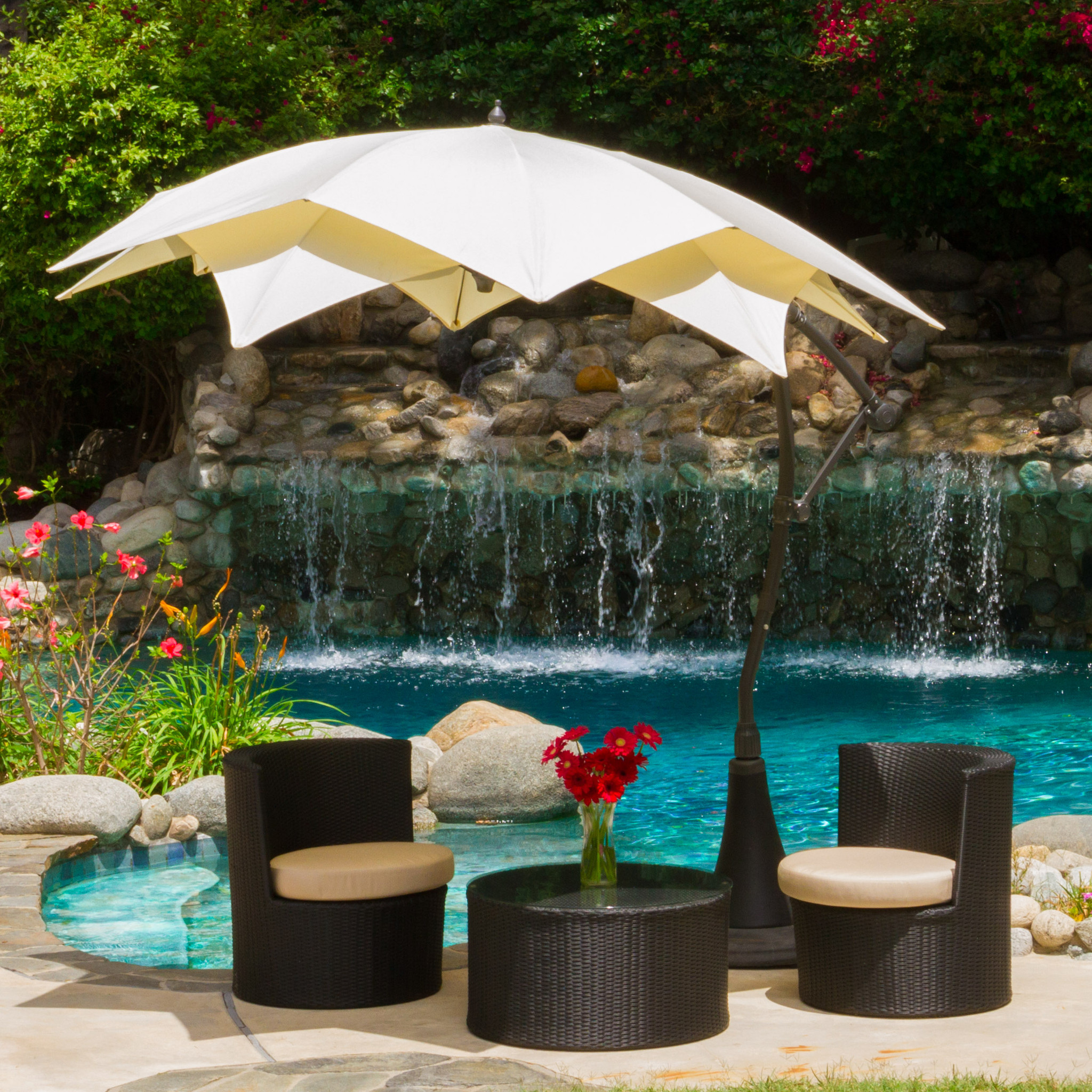 Charming White Cantilever Patio Umbrella In Charming Design With Sofa Set  For Patio Decor Ideas