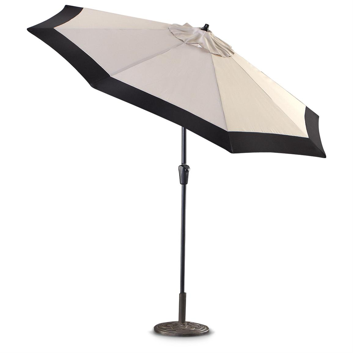 charming white cantilever patio umbrella with black rim and metal stand for patio furniture ideas