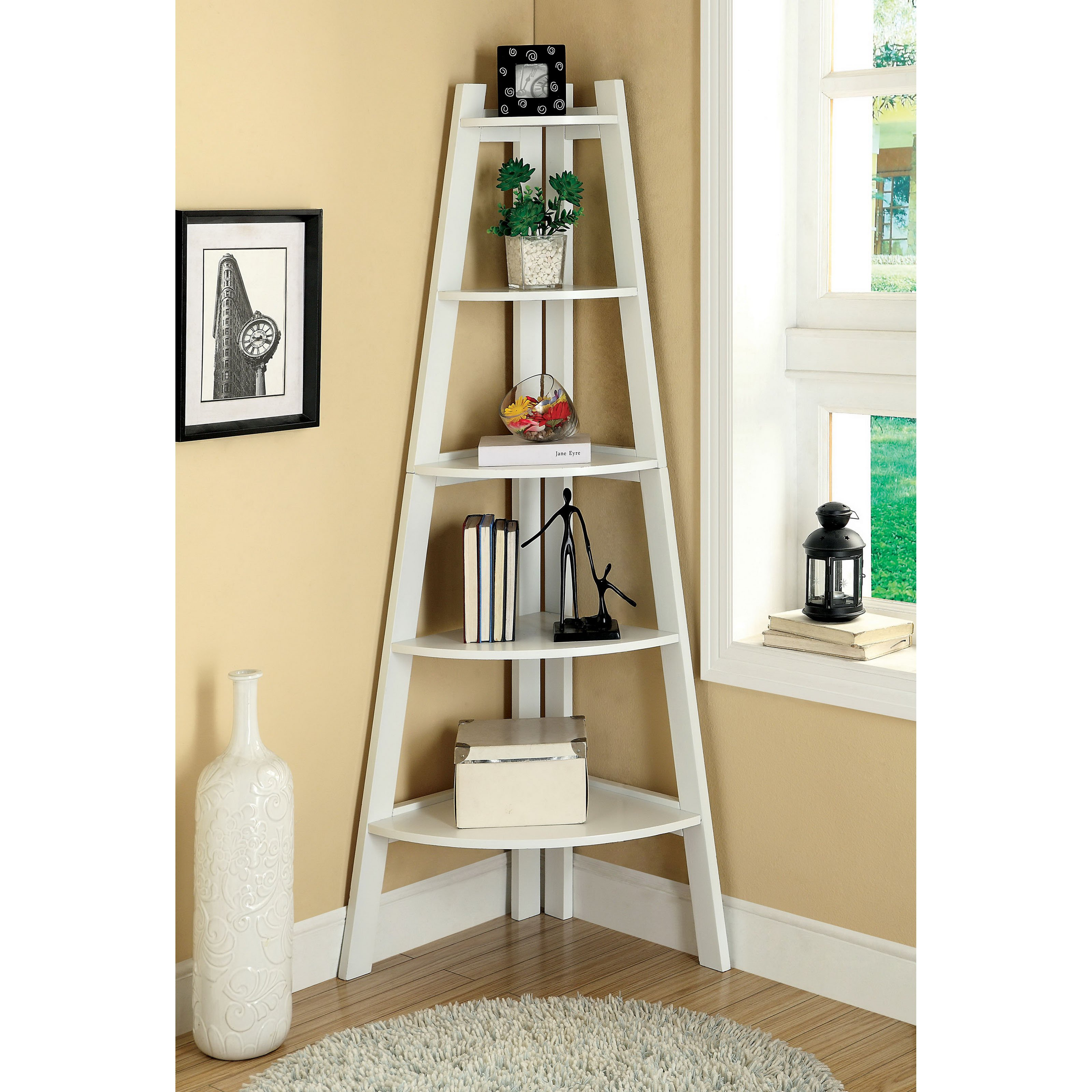 charming white corner ladder bookshelf on wooden floor matched with cream wall plus round carpet for living room decor ideas
