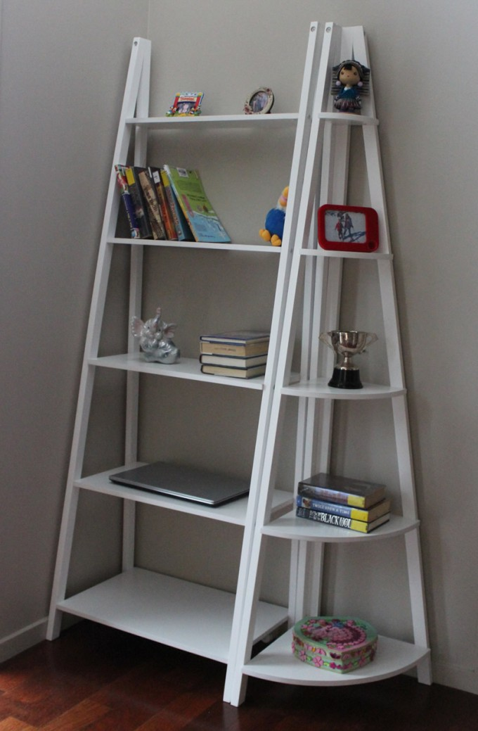 Charming White Wooden Ladder Bookshelf On Wooden Floor Matched With White Wall For Interior Decor Ideas