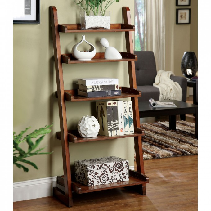 Charming Wooden Ladder Bookshelf In Brown On Wooden Floor Matched With Olive Wall Plus White Baseboard Molding For Living Room Decor Ideas
