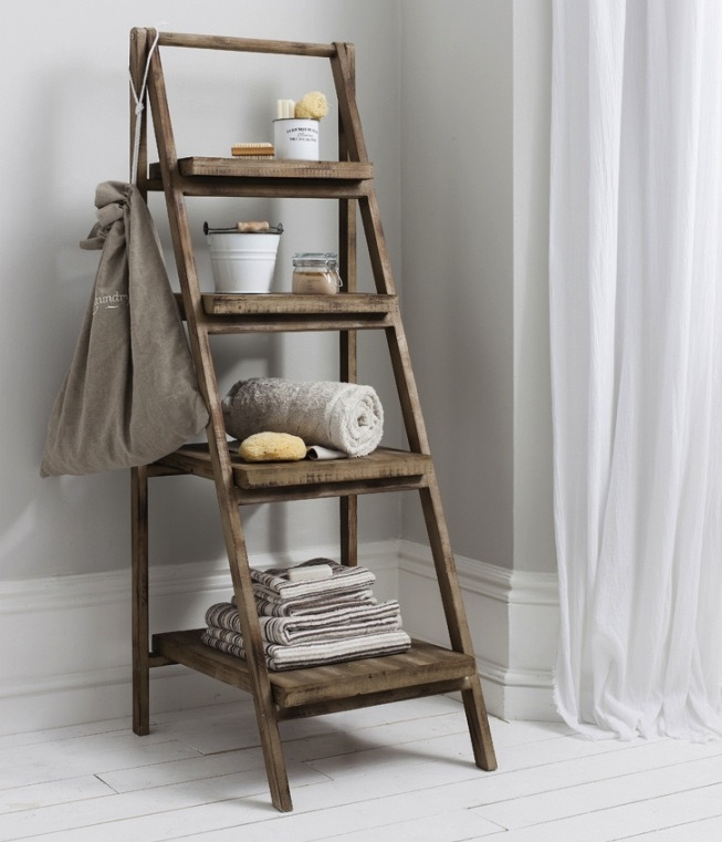 Charming Wooden Ladder Bookshelf On White Wooden Floor Matched With White Wall For Home Decor Ideas