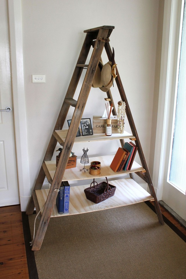simple furniture ideas. Inspiring Ladder Bookshelf For Simple Furniture Ideas. Charming Wooden On Floor Plus Tan Carpet Mathced With White Wall Living Ideas L