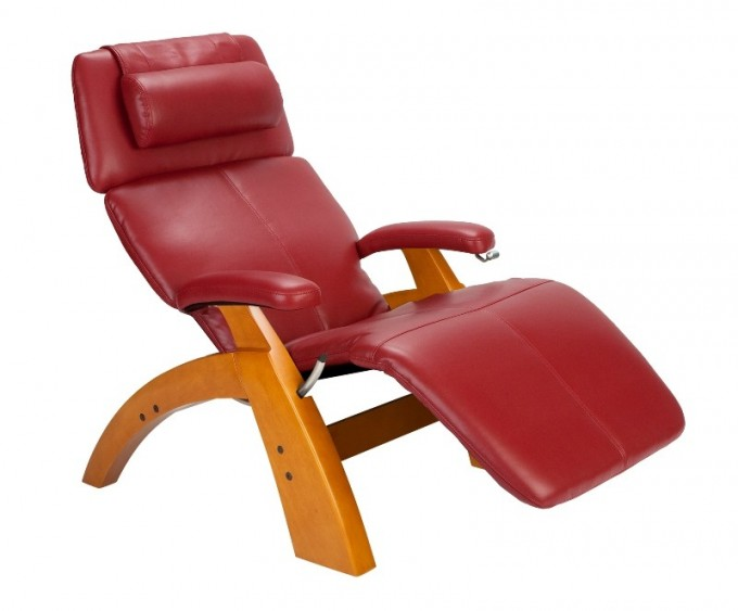 Charming Zero Gravity Chair With Red Leather Seat And Wood Stand For Home Furniture Ideas