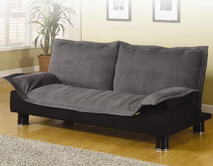 Cheap Futons In Black And Grey On Wooden Floor Plus Grey Carpet Matched With White Wall For Living Room Decor Ideas