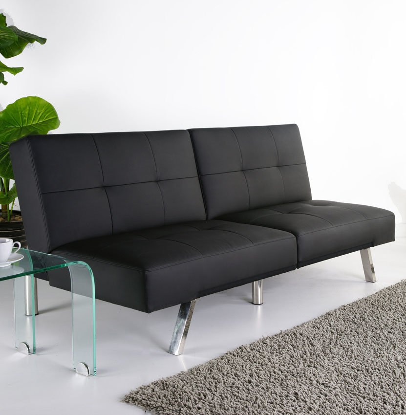 cheap futons in black and modern design on white ceramics floor matched with white wall for living room decor ideas