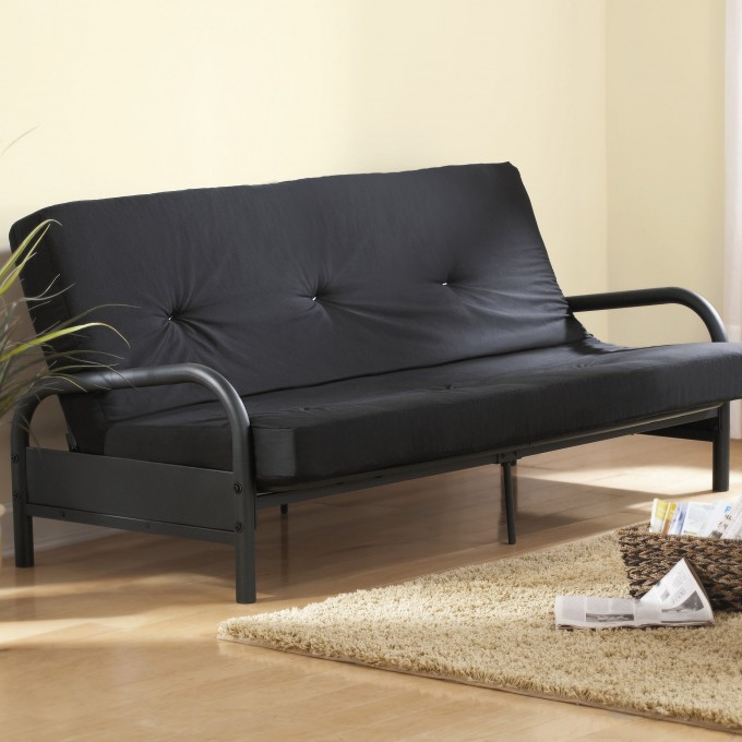 Cheap Futons In Black On Wooden Floor Plus Cream Carpet For Home Furniture Ideas