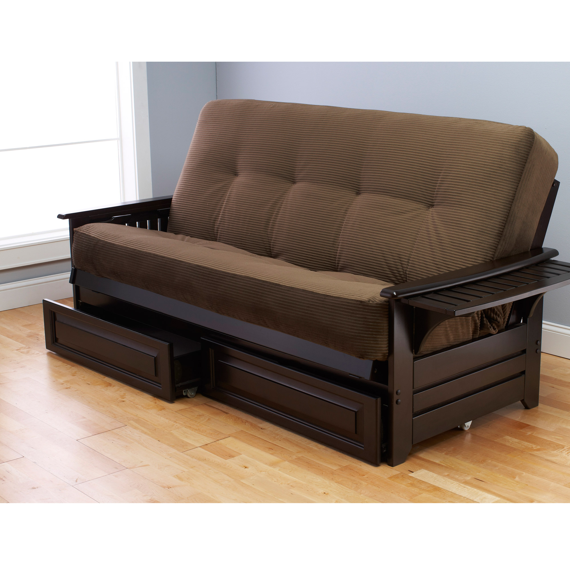 cheap futons in brown with storage on bottom for home furniture ideas