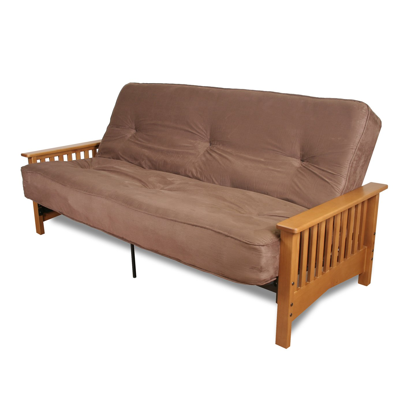 cheap futons in brown with wooden legs and arms for home furniture ideas