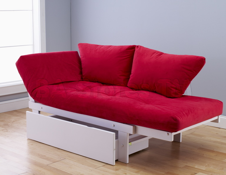 cheap futons in red with storage for home furniture ideas