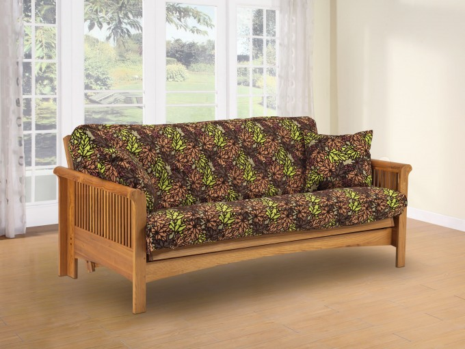 Cheap Futons With Arms And Floral Seat And Back Motif On Cream Floor Matched With White Wall For Home Decor Ideas