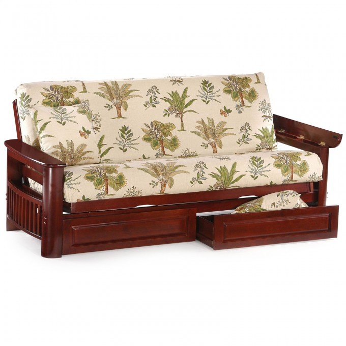 Cheap Futons With Floral Motif With Storage For Home Furniture Ideas