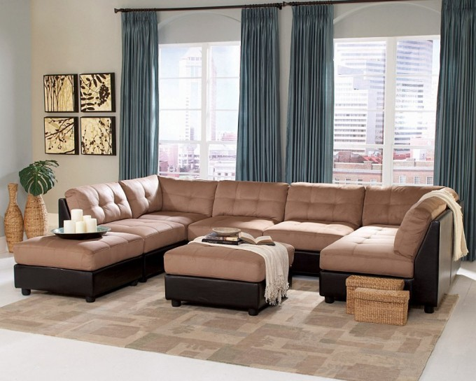 Cheap Sectional Sofas In Cream And Black On White Ceramics Floor Plus Cream Checked Carpet And Green Curtains For Living Room Decor Ideas