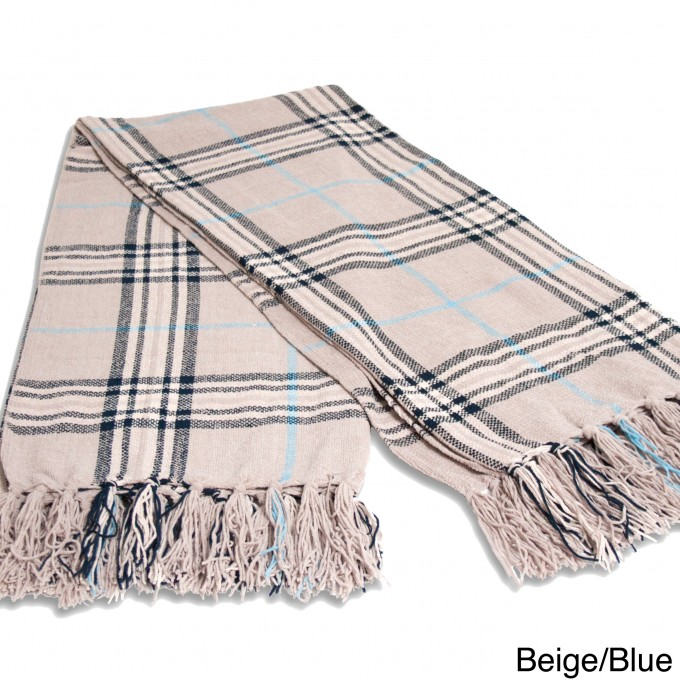 Checked Throw Chenille Blanket With Tassel For Charming Blanket Ideas