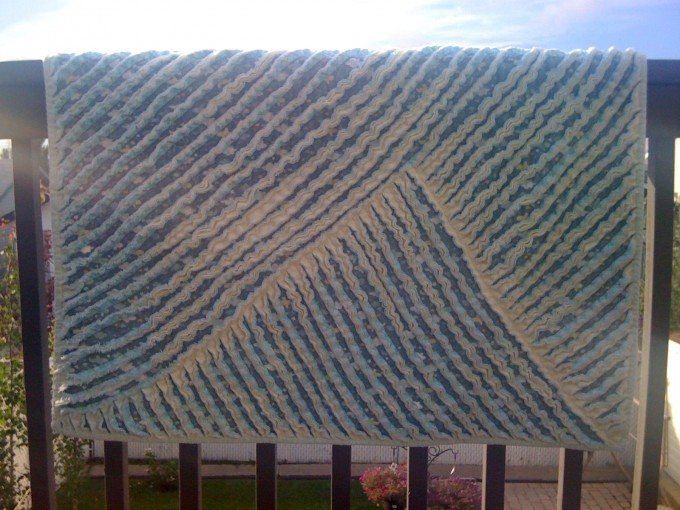 Chenille Blanket In Blue And Cream Mixed Color For Charming Blanket Ideas