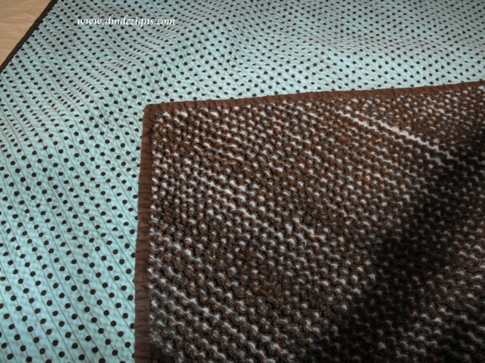 Chenille Blanket In Brown And Blue With Dotted Motif For Blanket Ideas