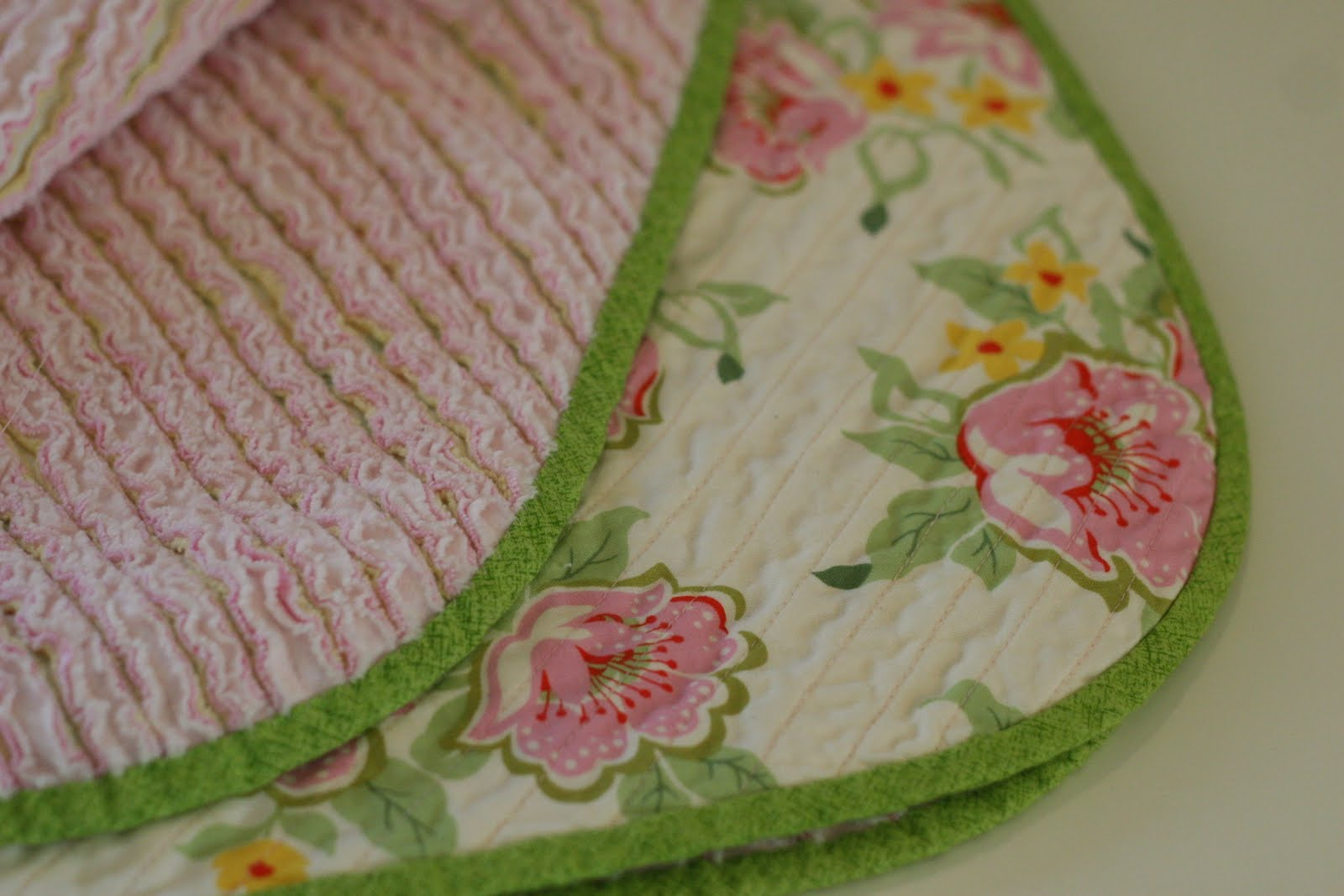 chenille blanket in double surface which are floral and solid pink for charming blanket ideas