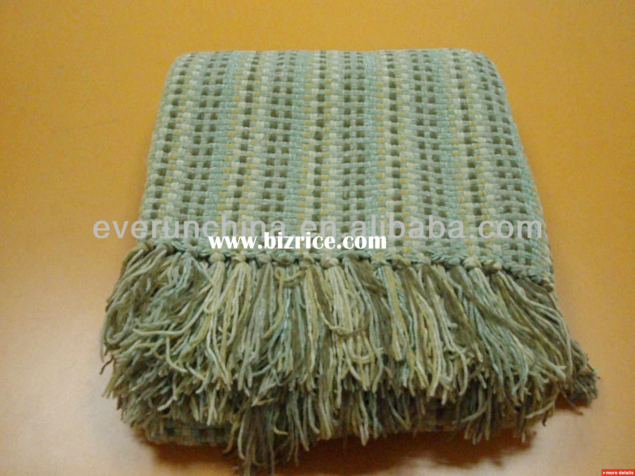 chenille blanket in green with tassel ideas