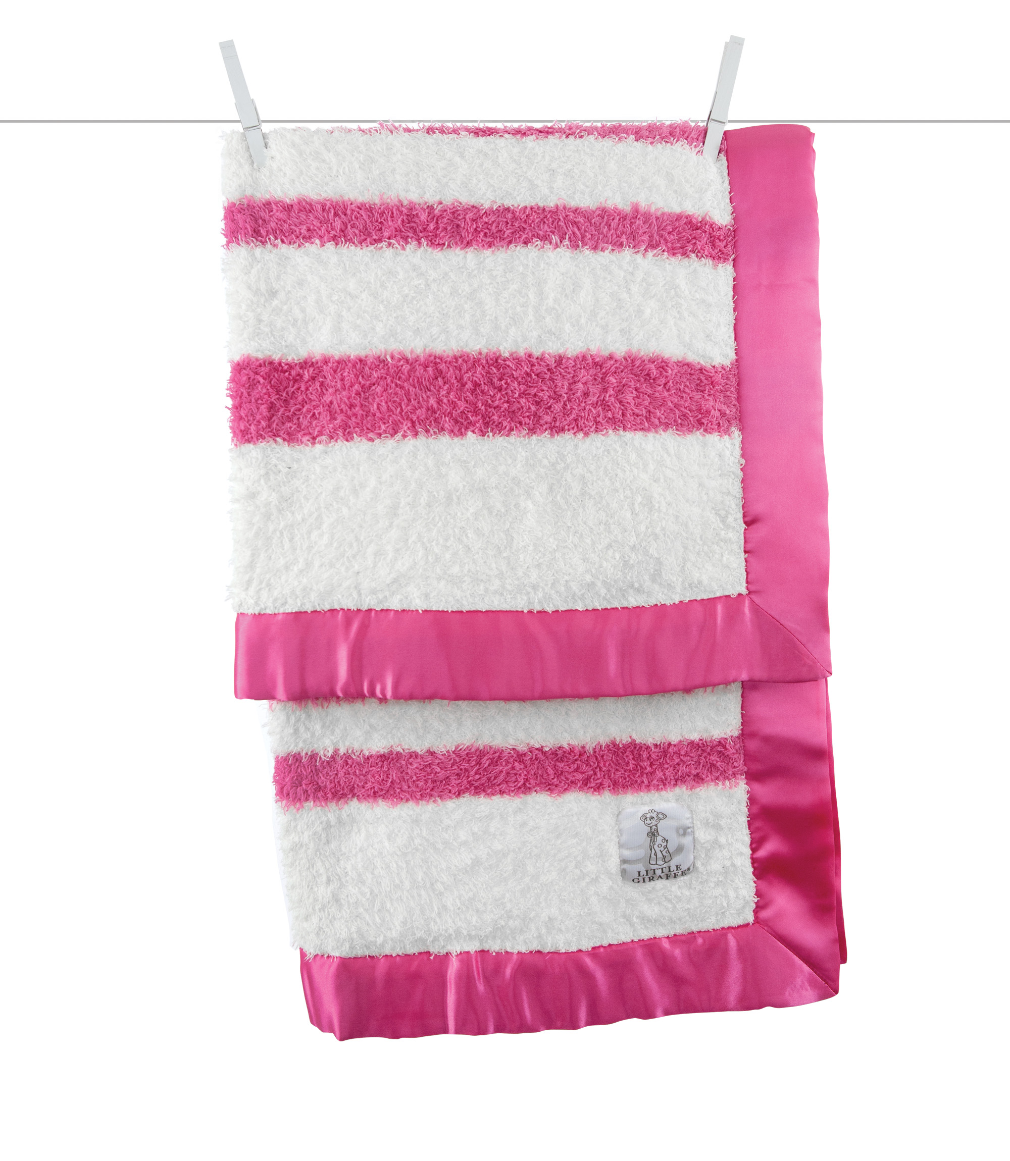 chenille blanket stripped white and pink with silky rim for blanket ideas