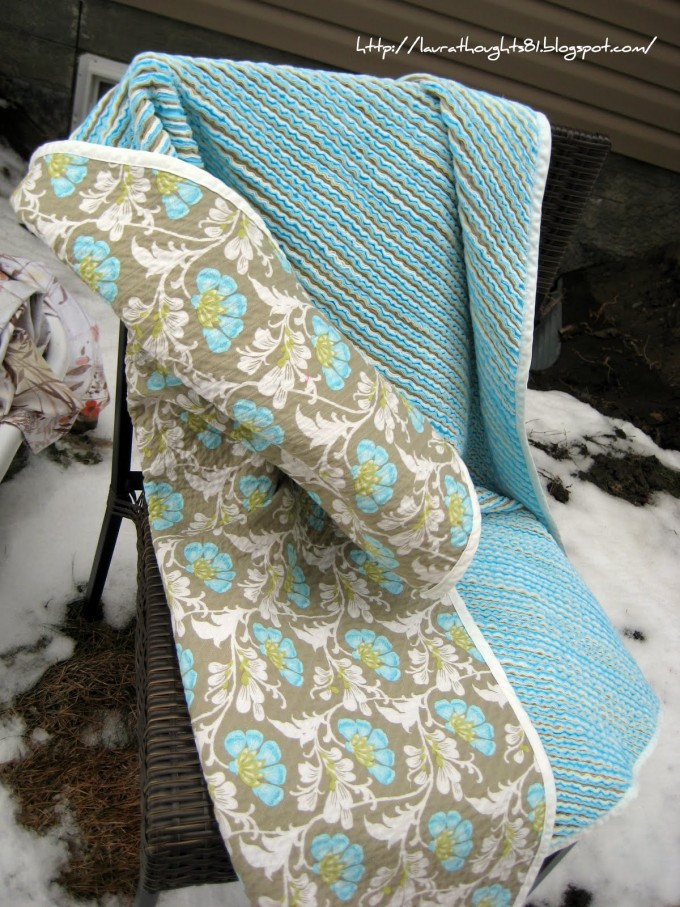Chenille Blanket With Double Surfaces Which Are Grey With Floral Pattern And Solid Blue For Charming Blanket Ideas